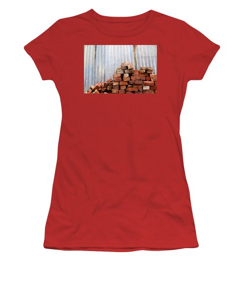 Women's T-Shirt (Athletic Fit) featuring the photograph Brick Piled by Stephen Mitchell