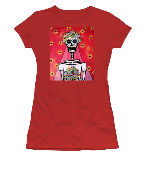 Women's T-Shirt (Junior Cut) featuring the painting Bridezilla Dia De Los Muertos by Pristine Cartera Turkus
