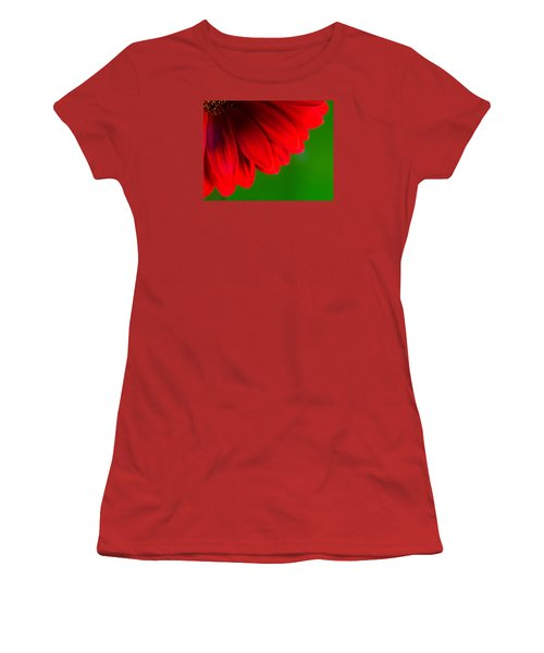 Bright Red Chrysanthemum Flower Petals And Stamen Women's T-Shirt (Junior Cut) by John Williams