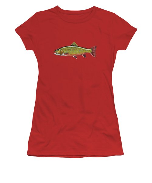 Brook Trout On Red Leather Women's T-Shirt (Junior Cut) by Serge Averbukh
