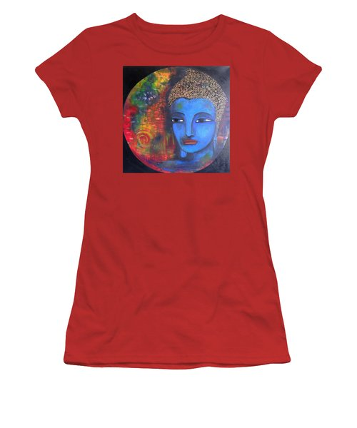 Buddha Within A Circular Background Women's T-Shirt (Junior Cut) by Prerna Poojara