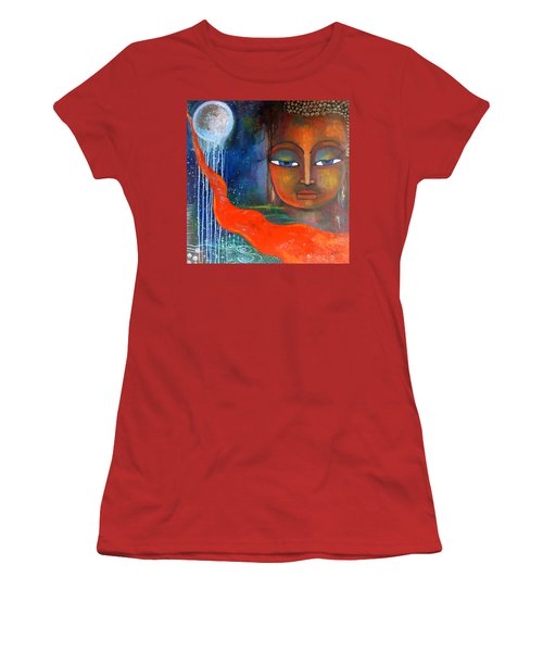 Buddhas Robe Reaching For The Moon Women's T-Shirt (Junior Cut) by Prerna Poojara