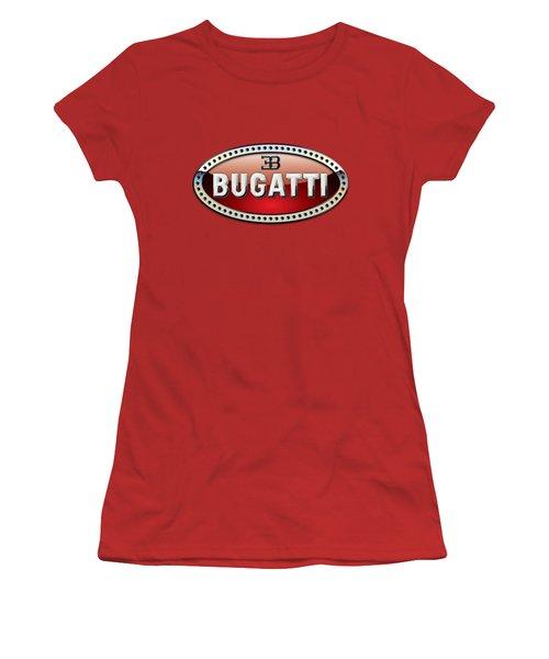 Bugatti - 3 D Badge On Red Women's T-Shirt (Junior Cut) by Serge Averbukh
