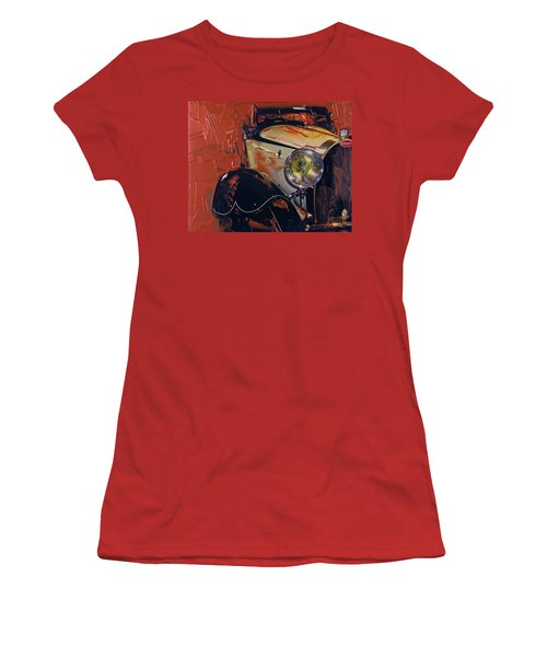 Women's T-Shirt (Junior Cut) featuring the photograph Bugatti Type 43 Roadster Luxe 1929 1 by Walter Fahmy