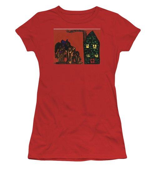 Bumpkin Dwellings Women's T-Shirt (Junior Cut) by Darrell Black