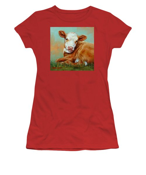 Women's T-Shirt (Junior Cut) featuring the painting Calf Resting by Margaret Stockdale