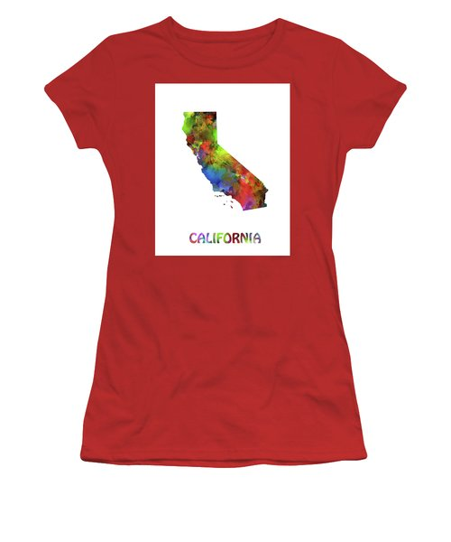 California  Map Watercolor Women's T-Shirt (Athletic Fit)
