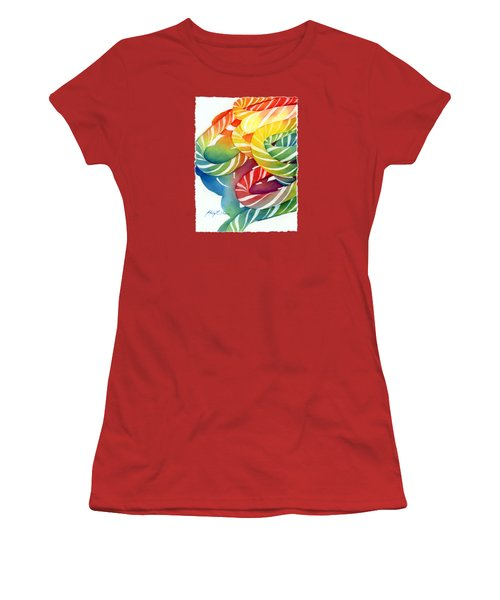 Women's T-Shirt (Junior Cut) featuring the painting Candy Canes by Hailey E Herrera