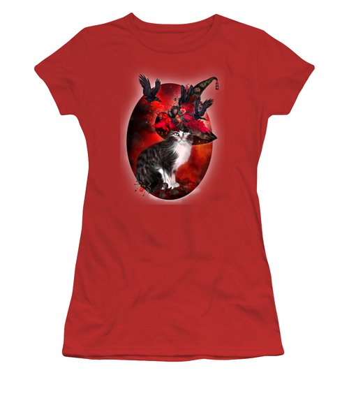Women's T-Shirt (Athletic Fit) featuring the mixed media Cat In Fancy Witch Hat 1 by Carol Cavalaris