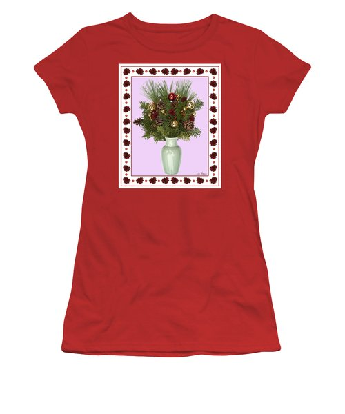 Celadon Vase With Christmas Bouquet Women's T-Shirt (Junior Cut) by Lise Winne