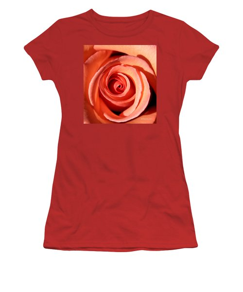 Women's T-Shirt (Junior Cut) featuring the photograph Center Of The Peach Rose by Barbara Chichester
