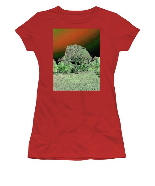 Women's T-Shirt (Athletic Fit) featuring the digital art Center Tree With Character And Neighbors by Merton Allen