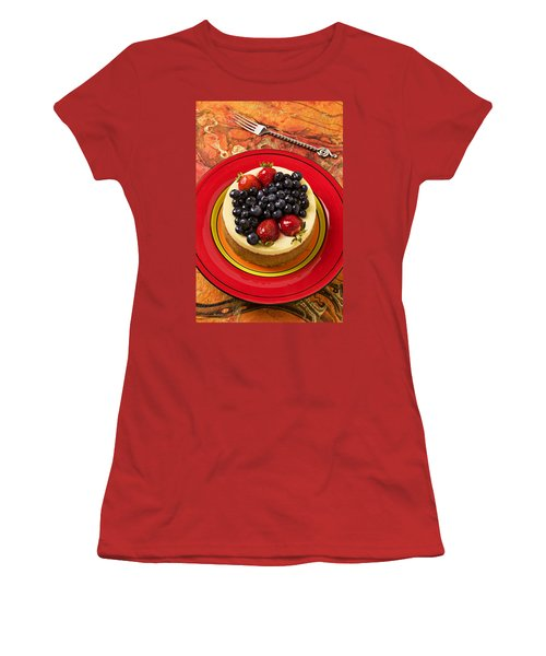 Cheesecake On Red Plate Women's T-Shirt (Junior Cut) by Garry Gay
