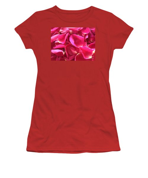 Cherry Pink Rose Petals Women's T-Shirt (Athletic Fit)