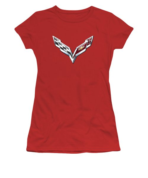 Chevrolet Corvette - 3d Badge On Red Women's T-Shirt (Athletic Fit)