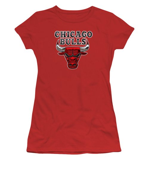 Chicago Bulls - 3 D Badge Over Flag Women's T-Shirt (Junior Cut)