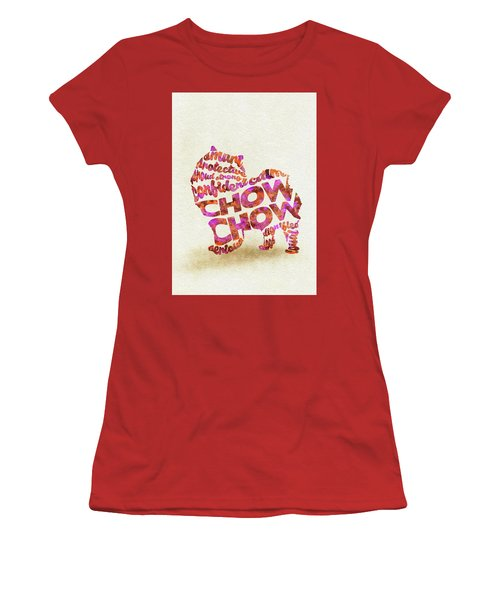 Women's T-Shirt (Athletic Fit) featuring the painting Chow Chow Watercolor Painting / Typographic Art by Ayse and Deniz