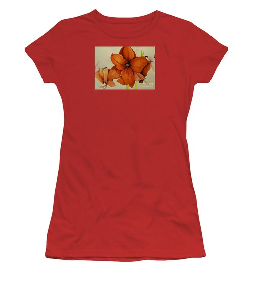 Women's T-Shirt (Junior Cut) featuring the painting Christmas Amaryllis by Rachel Lowry
