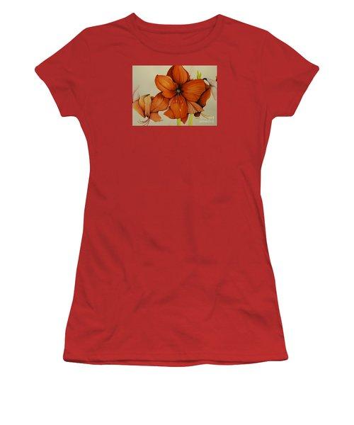 Christmas Amaryllis Women's T-Shirt (Junior Cut) by Rachel Lowry