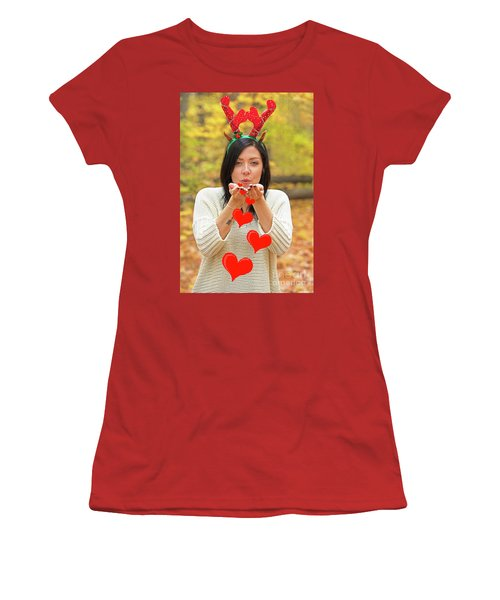 Women's T-Shirt (Junior Cut) featuring the photograph Christmas Kisses.. by Nina Stavlund