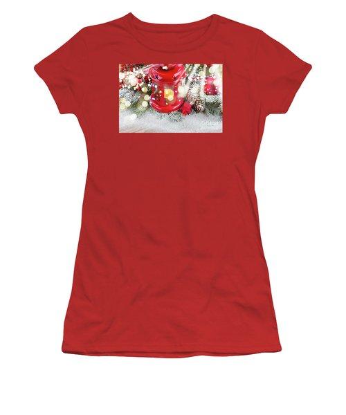 Christmas Red Lantern  Women's T-Shirt (Junior Cut) by Anastasy Yarmolovich