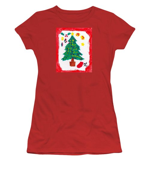 Women's T-Shirt (Junior Cut) featuring the painting Christmas Tree by Artists With Autism Inc