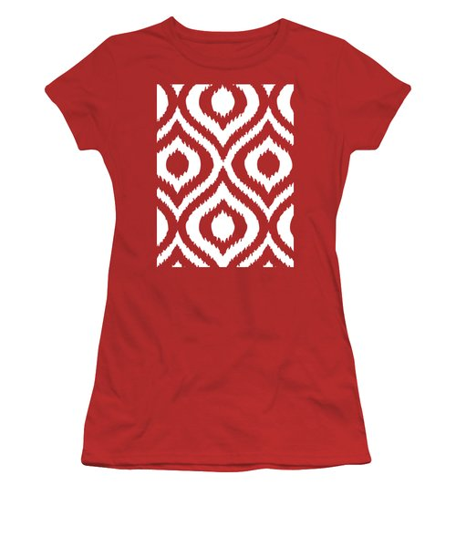 Circle And Oval Ikat In White T02-p0100 Women's T-Shirt (Athletic Fit)