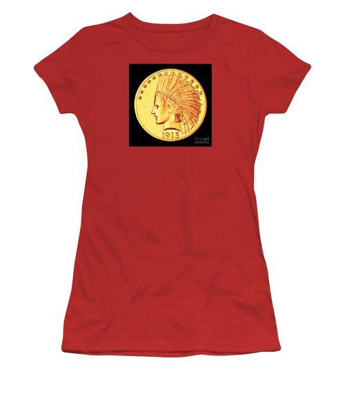 Classic Indian Head Gold Women's T-Shirt (Junior Cut) by Jim Carrell