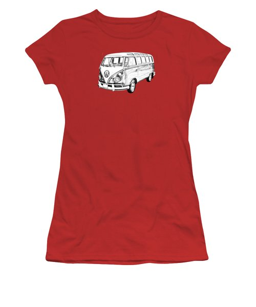 Classic Vw 21 Window Mini Bus Illustration Women's T-Shirt (Junior Cut) by Keith Webber Jr