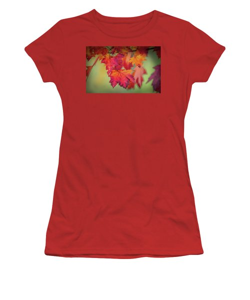 Close-up Of Red Maple Leaves In Autumn Women's T-Shirt (Athletic Fit)