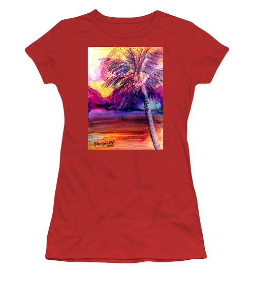 Coconut Palm Tree 2 Women's T-Shirt (Junior Cut) by Marionette Taboniar