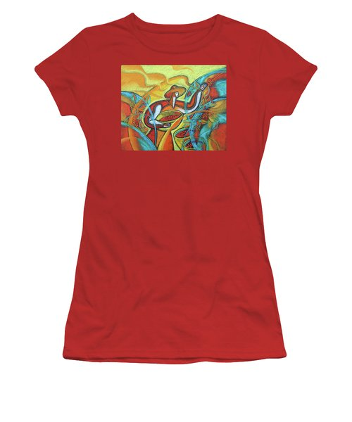 Women's T-Shirt (Junior Cut) featuring the painting Coffee Bean Harvest by Leon Zernitsky