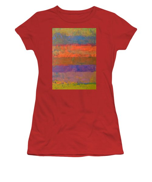 Women's T-Shirt (Junior Cut) featuring the painting Color Collage Two by Michelle Calkins