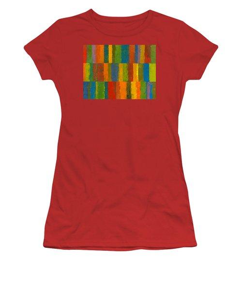 Color Collage With Stripes Women's T-Shirt (Junior Cut) by Michelle Calkins