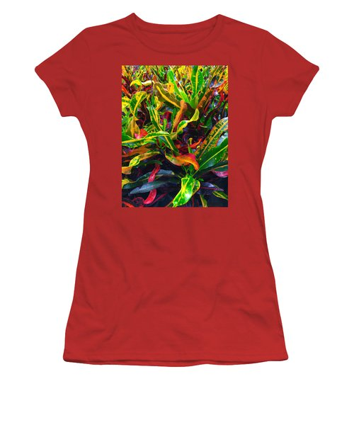 Colorful Crotons Women's T-Shirt (Junior Cut) by Kay Gilley