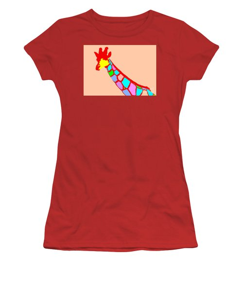 Women's T-Shirt (Junior Cut) featuring the digital art Colorful Giraffe Pink by Maja Sokolowska