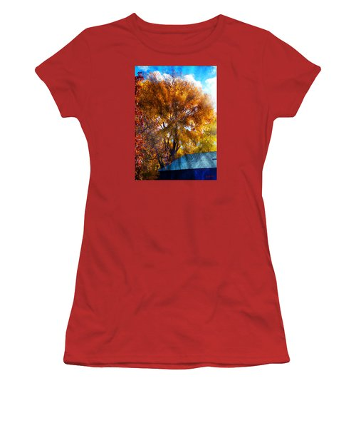 Women's T-Shirt (Junior Cut) featuring the photograph Cottonwood Conversations With Cobalt Sky  by Anastasia Savage Ealy