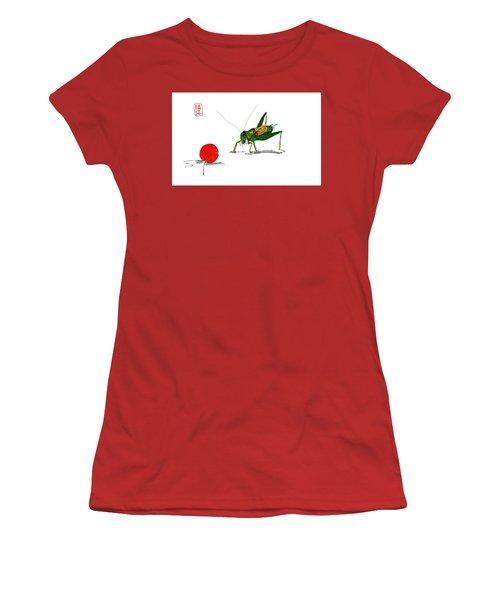 Cricket  Joy With Cherry Women's T-Shirt (Junior Cut) by Debbi Saccomanno Chan