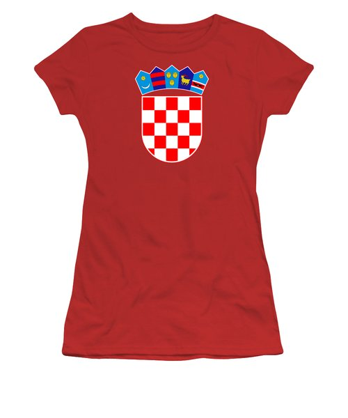 Croatia Coat Of Arms Women's T-Shirt (Junior Cut) by Movie Poster Prints