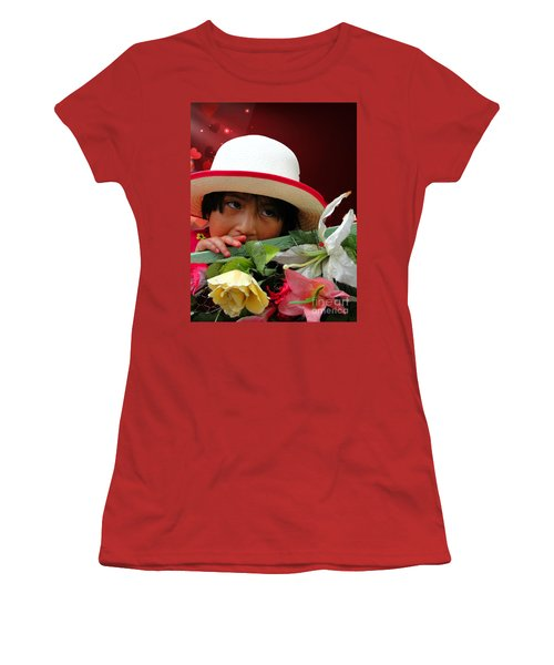 Women's T-Shirt (Junior Cut) featuring the photograph Cuenca Kids 887 by Al Bourassa