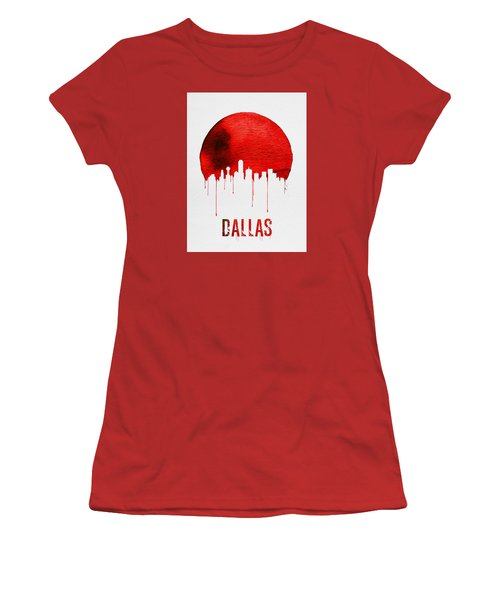 Dallas Skyline Red Women's T-Shirt (Junior Cut) by Naxart Studio