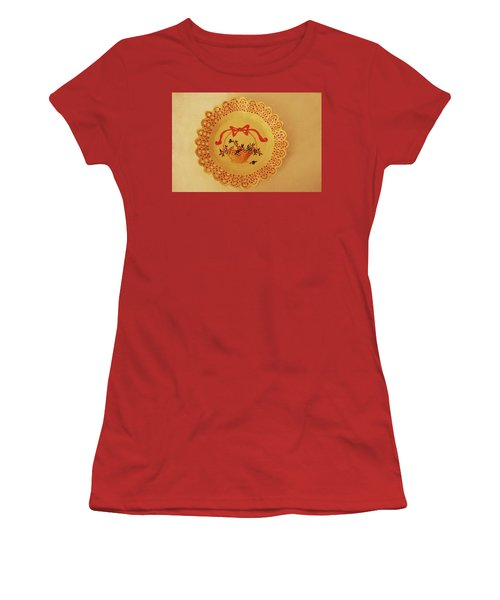 Decorated Plate With A Basket And Flowers Women's T-Shirt (Athletic Fit)