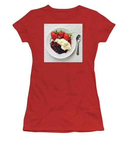Dessert With Strawberries And Whipped Cream Women's T-Shirt (Junior Cut) by GoodMood Art
