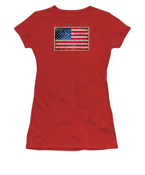 Distressed American Flag And Second Amendment On White Bricks Wall Women's T-Shirt (Athletic Fit)