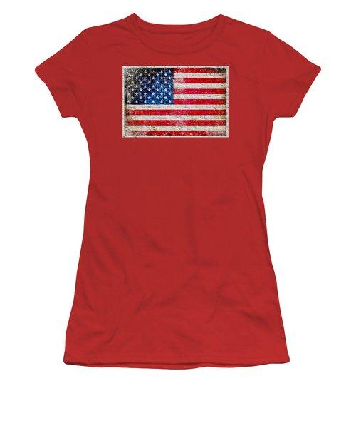 Distressed American Flag On Old Brick Wall - Horizontal Women's T-Shirt (Junior Cut) by M L C