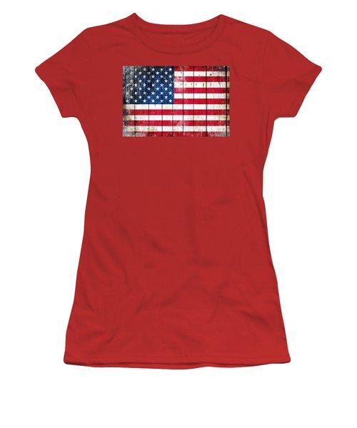 Distressed American Flag On Wood Planks - Horizontal Women's T-Shirt (Junior Cut) by M L C