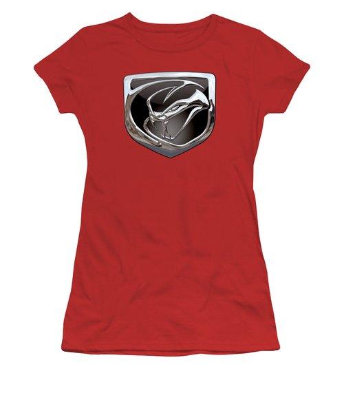 Dodge Viper - 3d Badge On Red Women's T-Shirt (Junior Cut) by Serge Averbukh