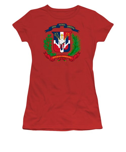 Dominican Republic Coat Of Arms Women's T-Shirt (Junior Cut) by Movie Poster Prints