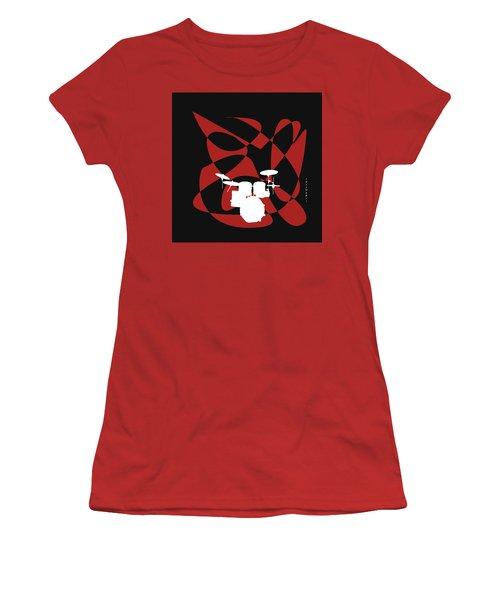 Drums In Black Strife Women's T-Shirt (Junior Cut) by David Bridburg