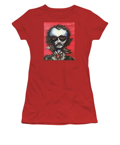 Women's T-Shirt (Junior Cut) featuring the painting Edgar Alien Poe by Similar Alien